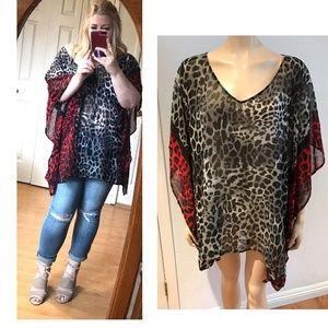 Lane Bryant Animal Print kimono Top blouse
